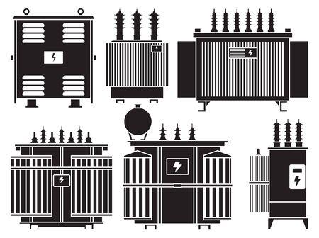 Transformer vector installation on white background . Isolated black set icon energy substation. Vector black set icon transformer.
