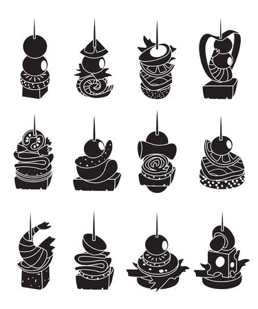 Canape of food vector illustration on white background. Isolated black set icon appetizer. Vector black set icon canape of food.