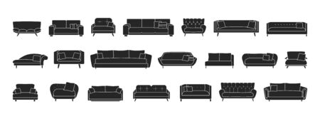 Sofa isolated black set icon. Vector illustration couch on white background . Furniture black set icon.