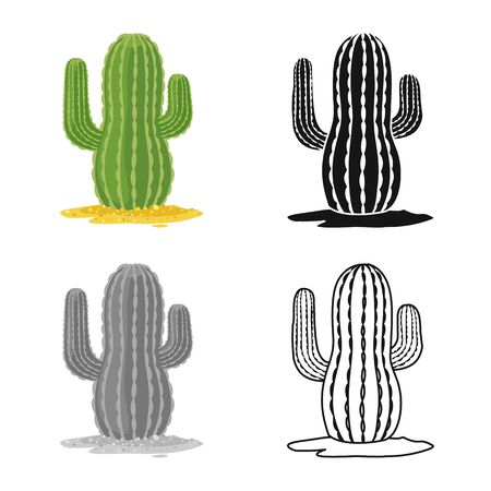 Vector design of cactus and south symbol. Web element of cactus and america stock vector illustration.