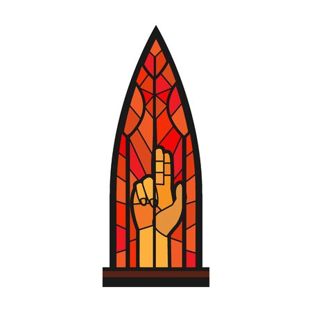 Church window vector icon.Cartoon vector icon isolated on white background church window. Vettoriali