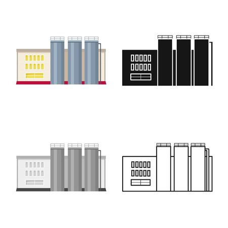 Isolated object of factory and distillery icon. Collection of factory and production vector icon for stock. Vettoriali