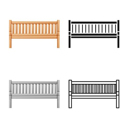 Vector design of bench and furniture symbol. Graphic of bench and seat stock symbol for web.