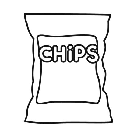 Isolated object of chip and fluted sign. Graphic of chip and crunchy stock symbol for web.