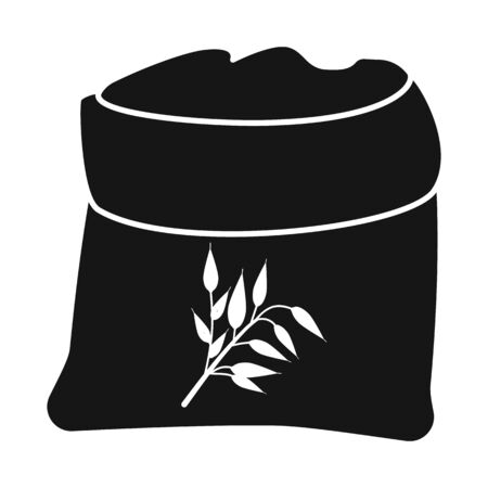 Vector illustration of bag and flour icon. Set of bag and wheat stock vector illustration. Vettoriali