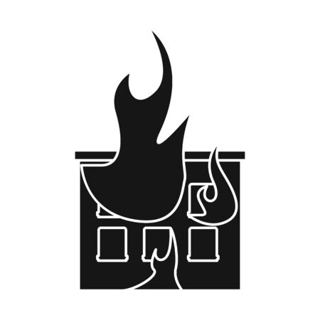 Isolated object of house and flame icon. Set of house and burning stock symbol for web. Vettoriali