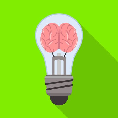 Vector design of light and brain icon. Web element of light and idea vector icon for stock.