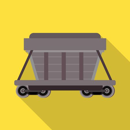 Vector illustration of wagon and container symbol. Graphic of wagon and boxcar stock symbol for web.