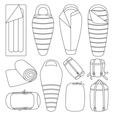 Sleeping bag isolated vector illustration on white background . Line set icon camping bed. Vector line set icon sleeping bag.