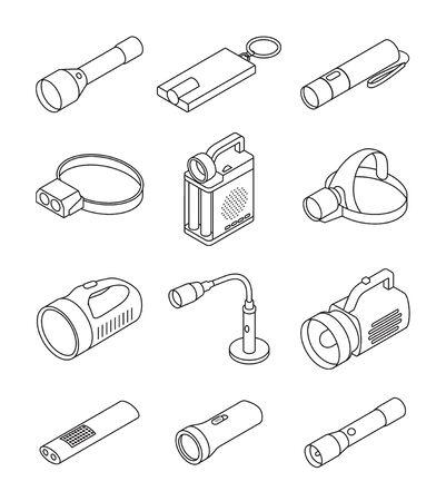 Flashlight vector illustration on white background . Line set icon spotlight. Vector line set icon flashlight.