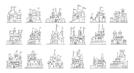 Medieval castle isolated line set icon. illustration ancient palace on white background.  line set icon medieval castle.