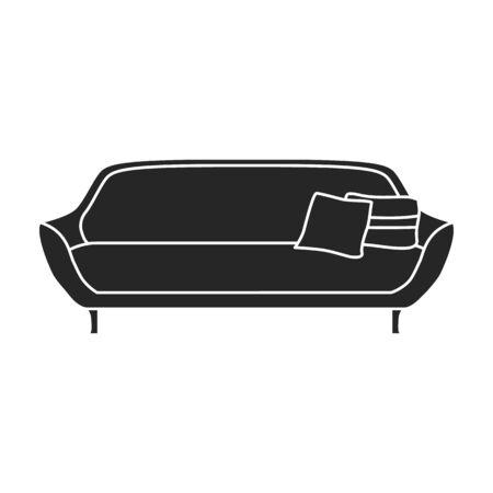 Sofa vector icon.Black vector icon isolated on white background sofa. Vector Illustratie