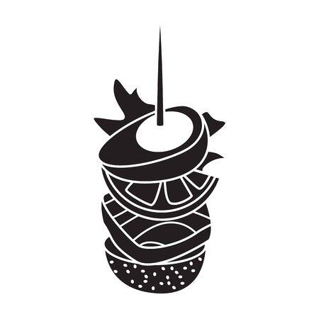 Canape icon.Black icon isolated on white background canape.