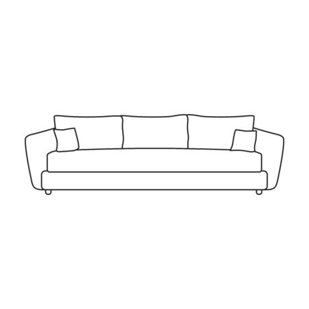 Sofa vector icon.Line vector icon isolated on white background sofa . Illustration