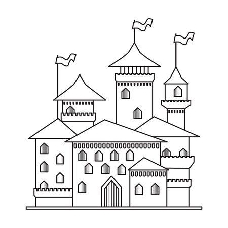 Medieval castle vector icon.Line vector icon isolated on white background medieval castle. Vektoros illusztráció
