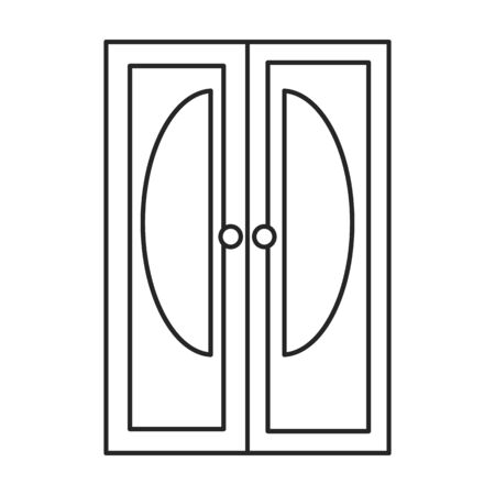 Door vector icon.Line vector icon isolated on white background door .