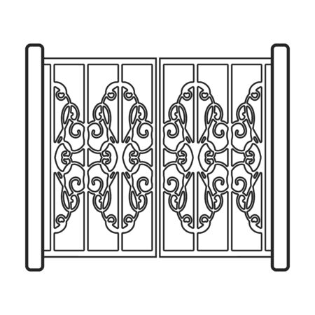 Gate vector icon.Line vector icon isolated on white background gate.