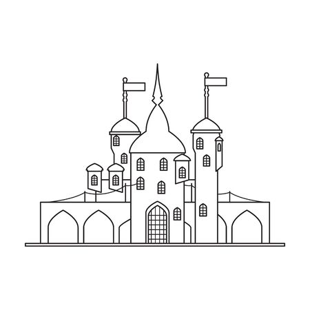 Medieval castle vector icon.Line vector icon isolated on white background medieval castle.