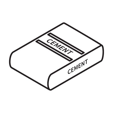 Cement of bag isometric vector icon.Line vector icon isolated on white background cement of bag .