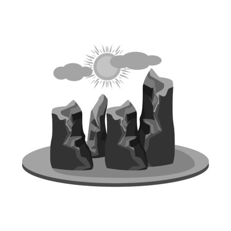 Vector design of rock and bay sign. Collection of rock and vietnamese vector icon for stock.