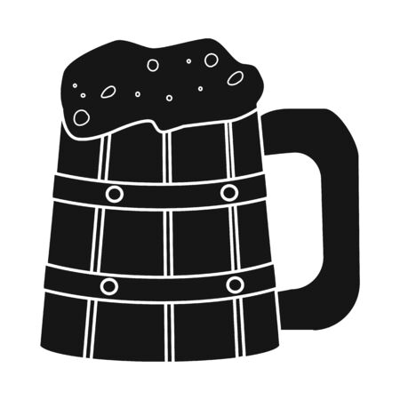 Vector illustration of beer and mug icon. Graphic of beer and wood vector icon for stock.