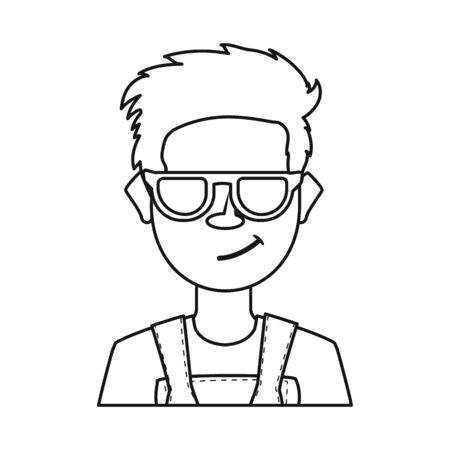 Isolated object of guy and contempt icon. Collection of guy and glasses stock vector illustration.