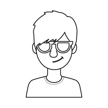 Isolated object of guy and contempt sign. Collection of guy and glasses stock symbol for web.