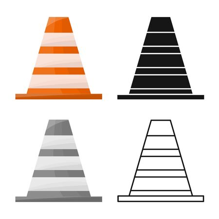 Vector illustration of block and road icon. Web element of block and cone stock symbol for web.