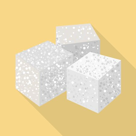 Isolated object of cube and sugar. Graphic of cube and ingredient stock symbol for web. Illustration