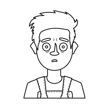 Vector design of guy and surprised icon. Collection of guy and emotion stock symbol for web.