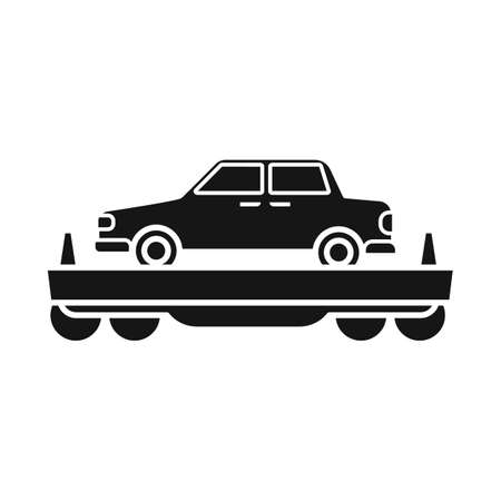 Vector illustration of wagon and cargo icon. Graphic of wagon and vehicle vector icon for stock. Illustration