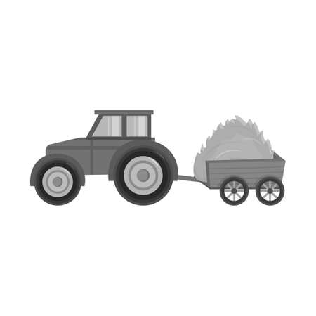 Vector design of tractor and trailer logo. Set of tractor and hay vector icon for stock.