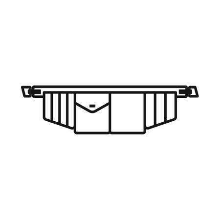 Vector design of toolbag and tool symbol. Graphic of toolbag and belt stock symbol for web. Illustration
