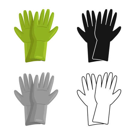 Isolated object of rubber and glove logo. Web element of rubber and green vector icon for stock. Illustration