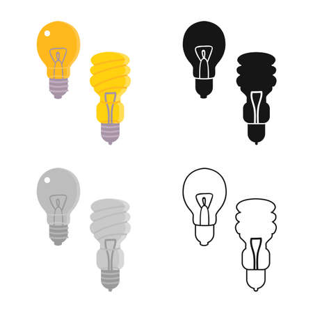 Isolated object of bulb and light logo. Graphic of bulb and eco vector icon for stock. Illustration