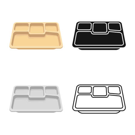 Vector illustration of tray and package sign. Web element of tray and food stock symbol for web. Illustration