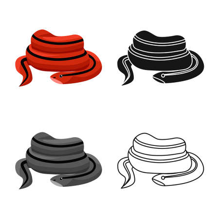 Vector illustration of serpent and red logo. Web element of serpent and skin stock symbol for web.