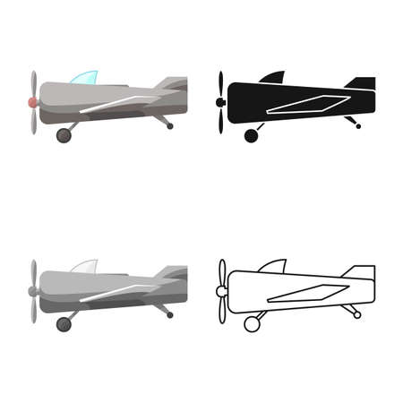 Isolated object of plane and old icon. Graphic of plane and biplane stock vector illustration.