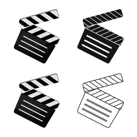 Isolated object of studio and clapper symbol. Graphic of studio and cinema stock symbol for web. Illustration