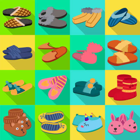 House slipper flat vector set icon. Isolated flat icon slipper and shoes.Vector illustration summer and spa shoe. Banque d'images - 151779923
