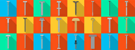 Metal fasteners flat vector set icon.Vector illustration isolated, icon metal screw and bolt on white background .flat set screw and bolt. Banque d'images - 151779928