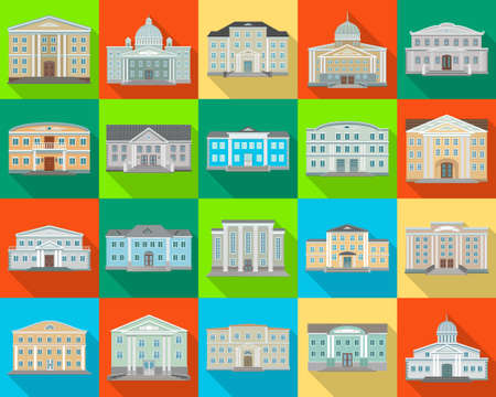 Building of government vector flat set icon. Isolated flat set icon architecture. Vector illustration building of government on white background . Banque d'images - 152252979