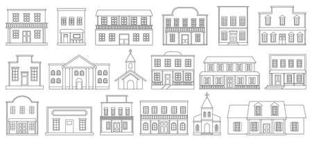 Building wild west line vector set illustration of icon.Western house vector set of icon.House wild west line on white background. Illustration