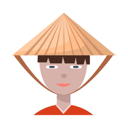Isolated object of vietnamese and portrait symbol. Set of vietnamese and costume vector icon for stock. Illustration