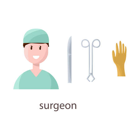 Vector illustration of surgeon and emergency sign. Collection of surgeon and operation stock symbol for web. Illustration