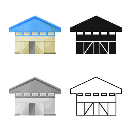 Isolated object of hangar and garage symbol. Web element of hangar and depot vector icon for stock.