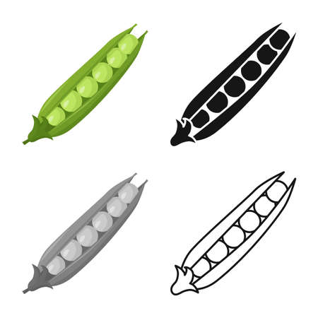 Vector illustration of pod and peas icon. Web element of pod and legume vector icon for stock.
