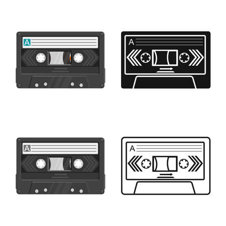 Isolated object of cassette and tape icon. Graphic of cassette and reel stock vector illustration. Banque d'images - 154003845