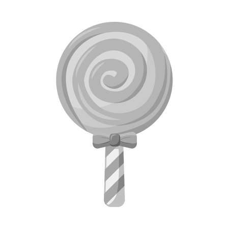 Vector design of lollipop and spiral sign. Web element of lollipop and yellow stock symbol for web.