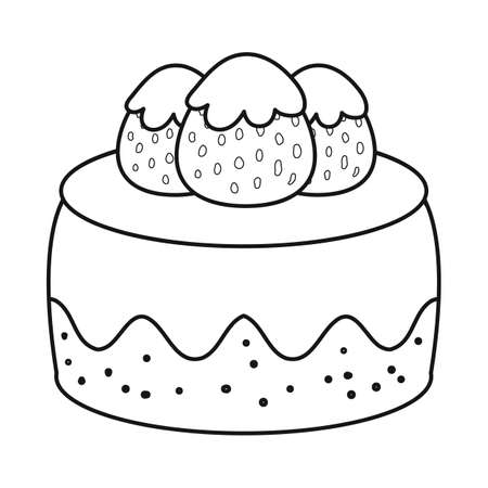 Isolated object of cake and birthday icon. Collection of cake and chocolate stock vector illustration. Иллюстрация
